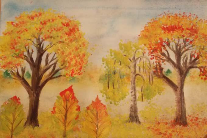 Детский рисунок осенней природы